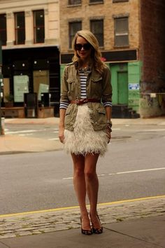 Stripes + utility jacket + feathered skirt + fall outfit