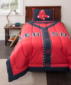 mlb boston red sox twin embroidered comforter set from bed bath
