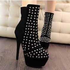 Fashion Rock Roman style  Ankle Boots (black,white)