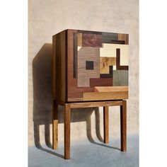 Lloyd is our hand-cut marquetry patterned nightstand with a push open door. It may be ordered with or without legs. If with legs you may chose nut or cherry wood. Without legs it may be attached to the wall as a floating nightstand.  Craftsmen: Ádám János Nagy - material procurement, joiner Anna Lébényi - design, material procurement, marquetry  Material: Nut body with marquetry from ash, oak, blacknut, mahogany, european maple, beech, american cherry, pear, FSC® certified coloured veneers.  htt Wooden Furniture, Furniture Design, Marquetry, Cabinet Makers, Floating Nightstand, Wood Art, Craftsman, Doors, Interior