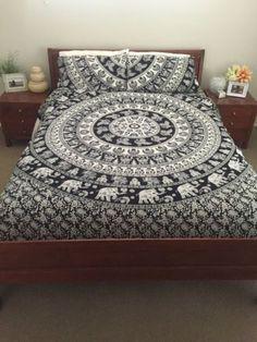 Bohemian Black and White Marching Elephants Mandala Indian Boho 3 PC Set Bohemian Queen Size Bedding & 2 Pillow Cases - Free Shipping