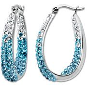 Luminesse Sterling Silver Hoop Earrings with Blue and White Swarovski Elements (NEED THESE!)