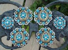 Saddle set conchos, Horse Solder, rhinestones, crystals, cowgirl