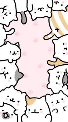 Kawaii Cat Wallpapers on WallpaperPlay - aaq - Cats Cute Cat Wallpaper, Soft Wallpaper, Kawaii Wallpaper, Unique Wallpaper, Doodles Kawaii, Cute Kawaii Drawings, Diy Kawaii, Kawaii Cat, Cute Wallpaper Backgrounds