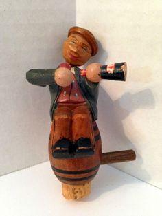 Vintage Man with Beer Works German Hand Carved Bottle Stopper Mechanical | eBay
