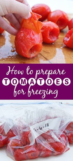How to Prepare Tomatoes for Freezing - If you have a bunch of tomatoes on your hands, consider freezing them! It is super easy and can be turned into spaghetti sauce or salsa months later. (Easy Meal To Freeze Freezer Cooking) Freezing Tomatoes, Freezing Vegetables, Fruits And Veggies, Freezing Fruit, Freezing Tomato Sauce, Storing Tomatoes, Freezer Cooking, Freezer Meals, Cooking Tips
