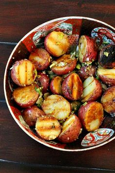 Grilled Red Potatoes with Basil Vinaigrette is a marriage made in food heaven. My only advice with this one is to make extra. Everyone will want seconds and they're great heated up for leftovers. via @lannisam