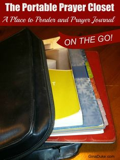 If you are crazy-busy like me, then you need a place to go where you can a grip! How about creating your own portable prayer closet? Here's what mine is like - click to go to GinaDuke.com. Prayer Journal | portable prayer journal | prayer closet