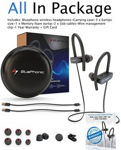 9a8ad71d740 Wireless Sport Bluetooth Headphones - Hd Beats Sound Quality - Sweat Proof  Stable Fit In Ear Workout Earbuds - Ergonomic Running Earphones - Noise ...
