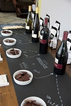 A chalkboard take on a Wine & Lindt Chocolate Pairing party from @siftandwhisk.