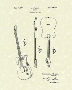 Fender Guitar 1951 Patent Art