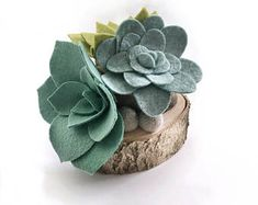 Felt Succulents on Wood Base | Plant Decor