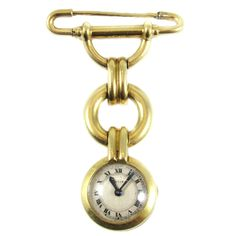 Cartier Art Deco Ladies Yellow Gold Safety Pin Pendant Watch Brooch, c. 1925   From a unique collection of vintage more jewelry at https://www.1stdibs.com/jewelry/more-jewelry-watches/more-jewelry/