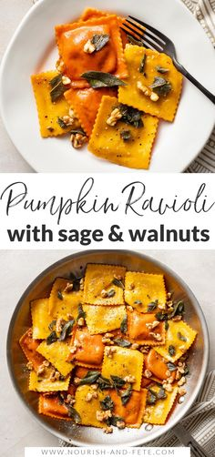 This easy recipe elevates store-bought pumpkin ravioli with sage brown butter sauce, toasted walnuts, and a surprise finishing touch. This is a dreamy fall dinner, and best of all it takes just 25 minutes! Fall Dinner Recipes, Dinner Recipes Easy Quick, Easy Pasta Recipes, Vegetarian Recipes Easy, Easy Meals, Cooking Recipes, Healthy Fall Recipes, Sage Recipes, Pumpkin Recipes