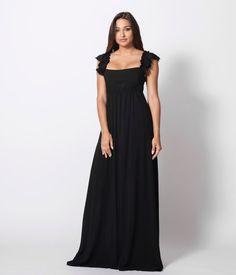 Casual Maxi Φόρεμα με Βολάν - Μαύρο Bridesmaid Dresses, Wedding Dresses, One Shoulder, Spring Summer, Formal Dresses, Black, Fashion, Bridesmade Dresses, Bride Dresses