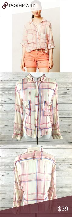 ANTHROPOLOGIE Holding Horses Plaid Top Size:  Medium Color:  Pink Plaid Material:  78% Cotton 22% Viscose Details:  Sheer Care:  Machine Wash Condition:  No Rips or Stains All measurements are in inches and taken with garment laying flat.  Not doubled.  Bust:  23 Waist:  22 Hem:  24 Shoulder to Hem:  18  Item:  8711116499 Anthropologie Tops Button Down Shirts