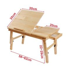 Solid Wood Foldable Notebook Laptop Table, Adjustable Height & Angle Folding Food Bed Lap Top Tray Table Desk, (com imagens) Folding Furniture, Furniture Projects, Wood Projects, Diy Furniture, Furniture Design, Bed Table, Table Desk, Drawing Desk, Drawing Tables