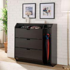 Furniture of America Marelle Transitional Cappuccino Multi-Storage Shoe Cabinet