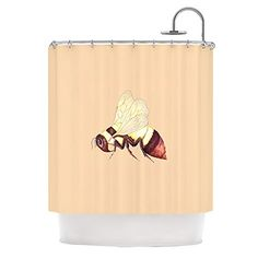 Kess InHouse Catherine Holcombe Bee Happy Beige Shower Curtain 69 by 70Inch ** Check this awesome product by going to the link at the image.