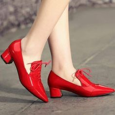 Women Patent Leather Shoes, Waterproof, Black, Red - Walk this way - Low Heel Shoes, Low Heels, Shoes Heels, Patent Shoes, Cute Shoes, Me Too Shoes, Black Shoes, Leather Shoes, Patent Leather