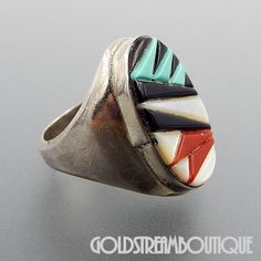 NATIVE AMERICAN VINTAGE ZUNI STERLING SILVER MULTI GEMSTONE MOSAIC INLAY OVAL MEN'S RING SIZE 10