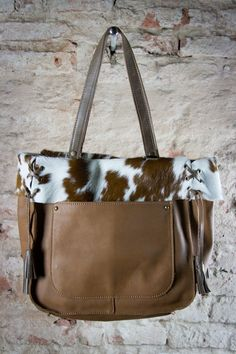 Brown Cowhide Tote Cow Hide Bag Leather Fur Soft Per Light