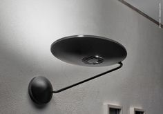 Compact wall lamp made of metal for indirect light with a short moving arm and swivel reflector to be placed along hallways or stairways. Ceiling Lamp, Stairways, Wall Lights, Hallways, Metal, Lighting Design, Compact, Arm, Architecture