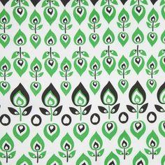 Green and Black Retro-Style Stretch Cotton Print