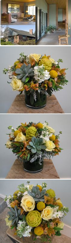 Blue/green succulents, Alexandria roses, yellow beehives, billy buttons, white stock, alstromeria, and dusty miller foliage