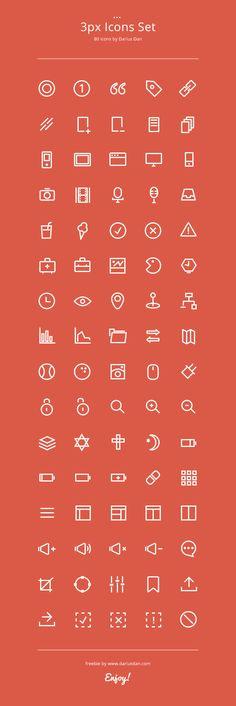 80 Icons Set AI + PSD on UI Space