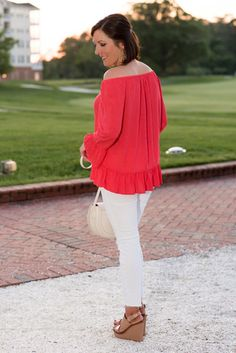 Velvet by Graham & Spencer Embroidered Challis Off the Shoulder Top with white jeans