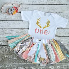 Deer Antler Outfit Birthday Outfit Deer Mount by ThePickledPeanut