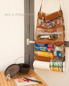 This requires some sewing skills, but you'll have enough space for any cooking supplies you need. Plus, you can roll it up and carry it on your shoulder!Full instructions here.