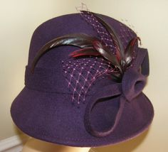 Ladies Hat Plum Fedora Feathered One Size Fits All by Nicholettes