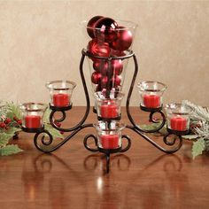 Brilliance Glass Centerpiece Vase with Tealight Holders Glass Centerpieces, Christmas Centerpieces, Christmas Decorations, Table Decorations, Diy Christmas, Glass Candle Holders, Candlestick Holders, Candle Sticks, Red Candles