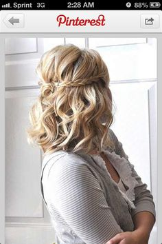 hair boho hair styles for long hair down wedding hair dos hair styles medium length hair in wedding hair swept wedding hair hair curly hair styles for short hair Spring Hairstyles, Pretty Hairstyles, Hairstyle Ideas, Medium Hairstyles, Hairstyle Tutorials, Braid Tutorials, Twisted Hairstyles, Hairstyles 2016, Medium Length Wedding Hairstyles