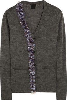 Vera Wang Embellished fine-knit wool cardigan | NET-A-PORTER