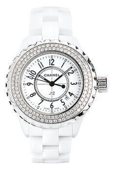 ❖Blanc❖ #White #Chanel #diamond watch ⌚
