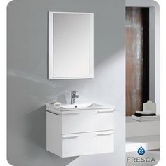 modern bathroom vanity with mirror fvn8114wh home depot canada