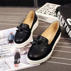Tamaño grande 34-43 Pisos de Plataforma Zapatos de Las Mujeres de Corea Del Estilo Pajaritas 3 Sólido Slip-on Punta Redonda Concisos señoras Pisos