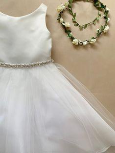 Dainty Rhinestone Flower Girl Dress Classic Satin and Tulle   Etsy Boho Flower Girl, Flower Girls, Flower Girl Dresses, Ring Bearer, Floral Crown, Dress Making, Tulle, Platform, Satin