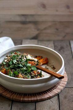 Quinoa salad with pumpkin, feta, ginger & coriander