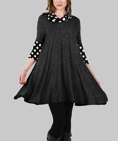 Another great find on #zulily! Simply Aster Deep Gray Polka Dot Contrast Swing Tunic by Simply Aster #zulilyfinds