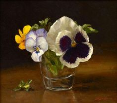 """https://www.facebook.com/MiaFeigelson """"Pansies""""  By Sarah K. Lamb, from Petersburg, Virginia, USA (b. 1971) - oil on canvas -"""