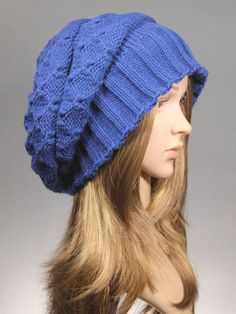 Winter knit hat in NavyKnit Cap beret knit hat by GoKnitsDotCom