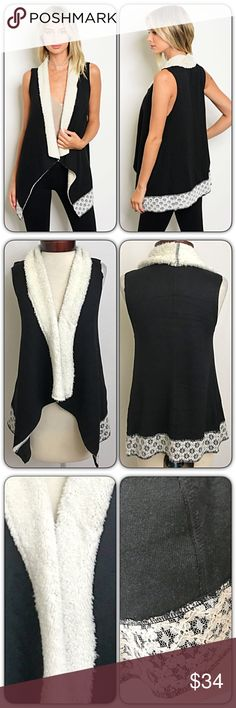 "Soft Shearling Vest Lace Trim SMLXL Lovely soft sleeveless shearling vest. Black & ivory with lace trim. 100% Polyester   Small Bust 32-34-36 Length 25"" Medium Bust 36-38-40 Length 25.5"" Large Bust 40-24-44 Length 26"" Jackets & Coats Vests"