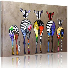 Amazon.de: RAIN QUEEN Cute Multicolor Zebra HD Wand Bild Leinwand Kunstdruck Landschaft