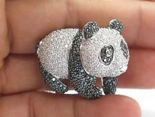 18Kt Panda Black & White Diamond White Gold Pin/Brooch 8.02Ct