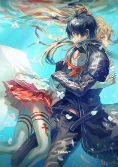Yuuki Asuna and Kirito (Kirigaya Kazuto) - Sword Art Online Kpop Anime, M Anime, Kirito Asuna, Kirito Kirigaya, Arte Online, Online Art, Sao Online, Anime Angel, Kirito Sword Art Online