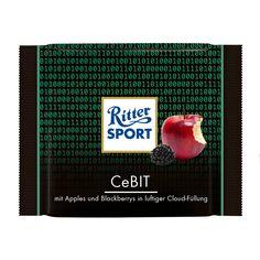 RITTER SPORT Fake Schokolade CeBit mit Apples und Blackberrys in luftiger Cloud-Füllung